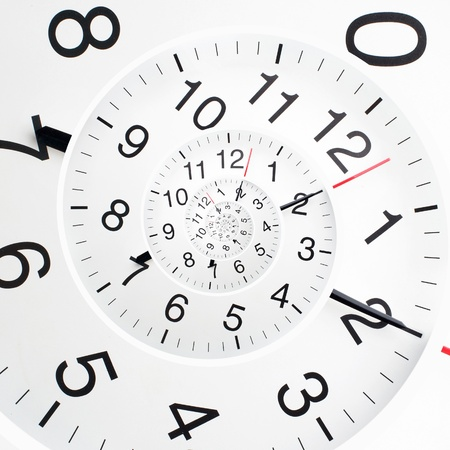 time lapse: Concept of infinity time spiral. Twisted clock face