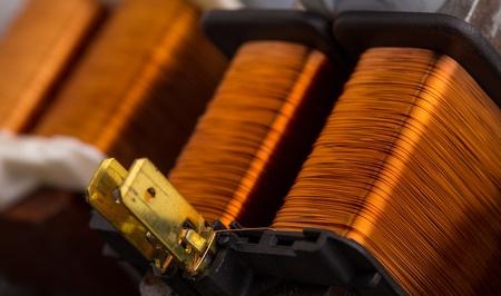 Closeup of electrical copper transformers photo