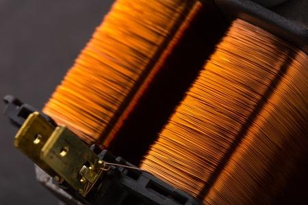Closeup of electrical copper transformer photo