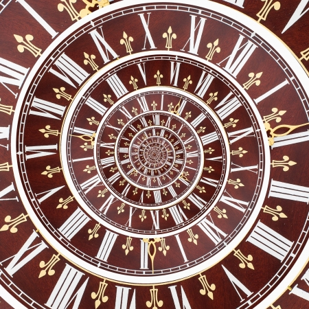 Concept of infinity time spiral. Twisted retro clock face photo