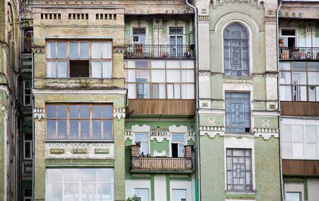 townhome: Facade of old multi-apartment building