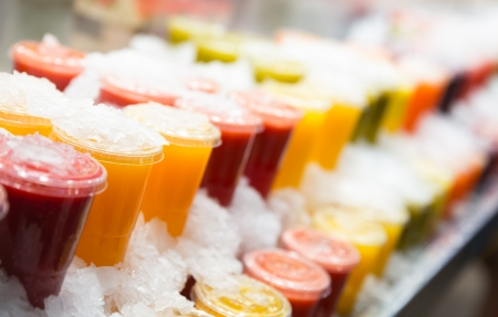 chilled: Fresh fruits juices chilled in ice