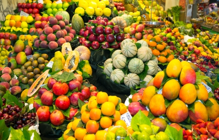 Abundance of fruits in local market