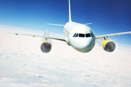 Airliner in flight over a clouds