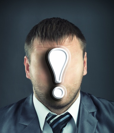 Portrait of faceless businessman with exclamatory mark Stock Photo - 22188391