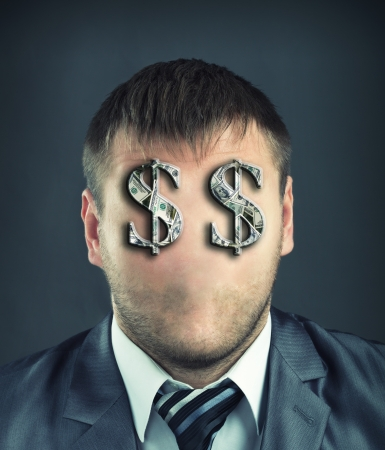 Portrait of faceless businessman with dollar symbols instead of eyes Stock Photo - 22188393