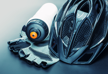 vehicle accessory: Helmet, gloves and water bottle - bicycle accessories