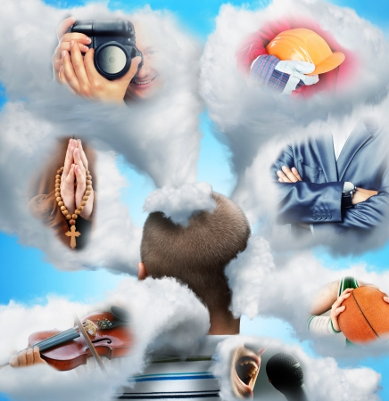 Men head in clouds imagines various professions photo
