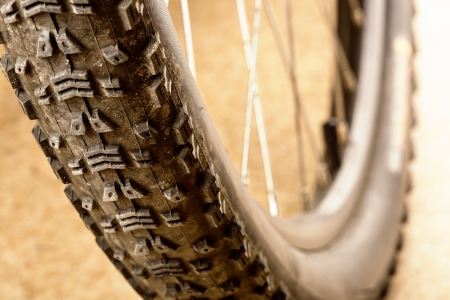 Muddy tire of a mountain bicycle photo