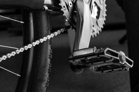 Closeup view of mountain bike pedal
