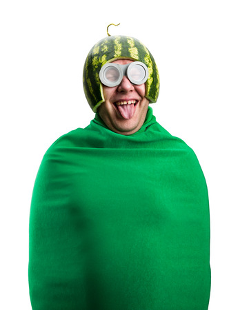 Funny man with watermelon helmet and googles looks like a parasitic caterpillar. Isolated on white photo