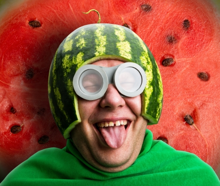watermelon: Funny man with watermelon helmet and googles looks like a parasitic caterpillar