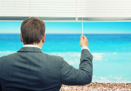 corporate travel: Businessman looking at sea out of the window Stock Photo