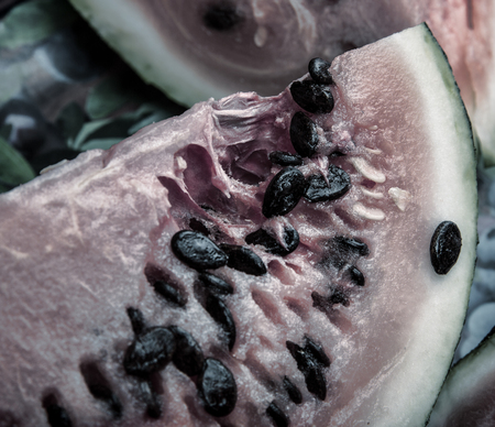 produce sections: close up of the rotten watermelon