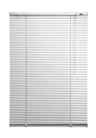 office window view: White plastic window blinds close studio shot