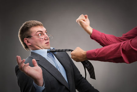 put up: Aggressive office worker put up a fight