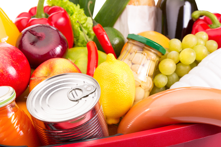 food package: Various fruits and vegetables. Food set. Close-up photo.