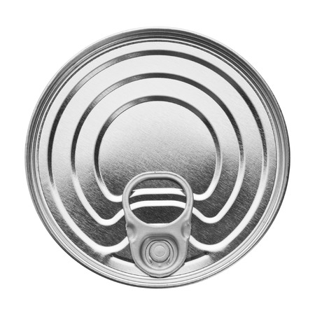 chrome cylinder: Metallic tin. Isolated over white background. Food packing.