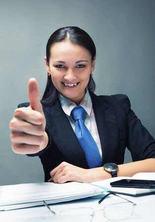 five fingers: Young caucasian business woman smiling Stock Photo
