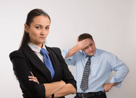 disagree: Two young caucasian office worker get mad