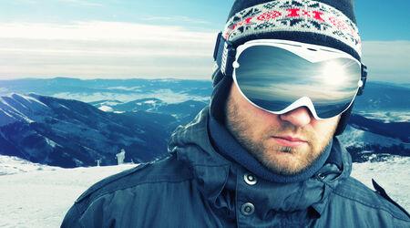 Mountain-skier weared sport goggle closeup photo