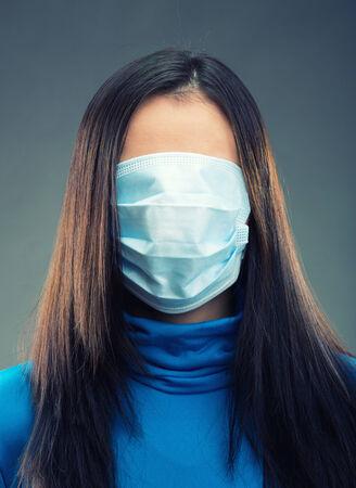 gauze: Gauze bandage over all face of women