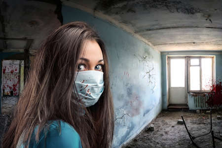 medical dressing: Gauze bandage women in obsolete room Stock Photo