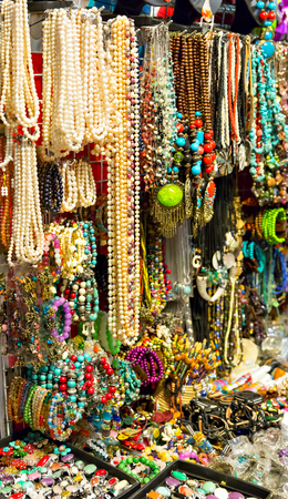 market place: Natural stone jewelry counter in Thailand vertical image