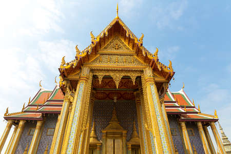 ornately: Ornately decorated temple roof  (Wat Po , Thailand)