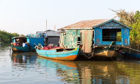 destitution: Slums in Cambodia on Tonle Sap lake