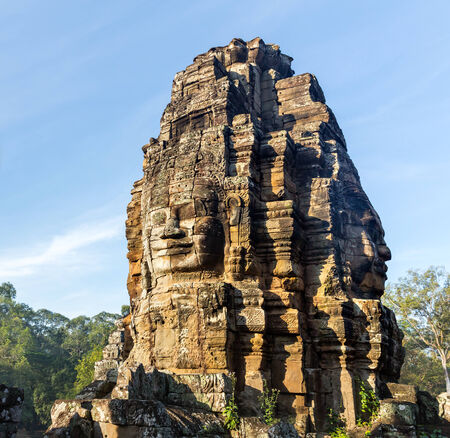 bayon: Stone head on towers of Bayon temple in Angkor Thom, Cambodia