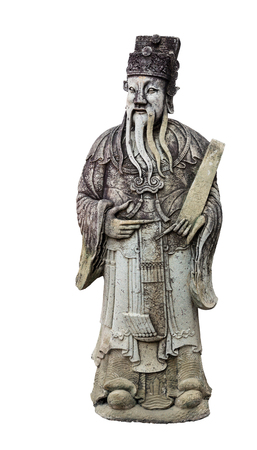 Old wise man statue on white photo