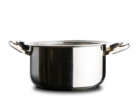 stockpot: Stainless steel pot without cover isolated on white