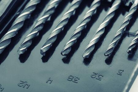 Macro of drill bits in box
