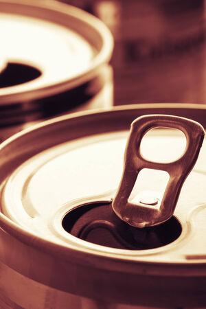 sepia toning: Two aluminum cans sepia toning