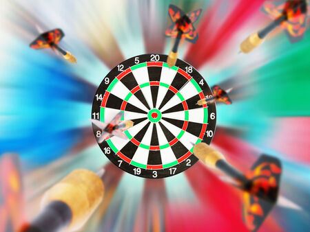darts flying: Classic Darts Board with flying darts Stock Photo