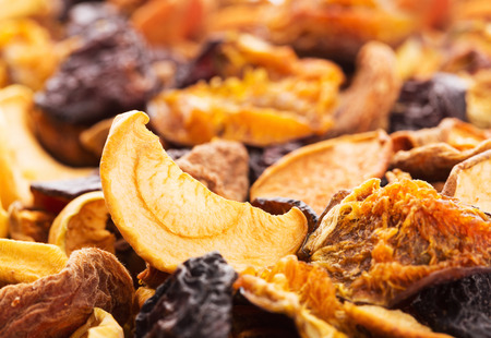 Mix of dried bits of  fruits, close-up photo