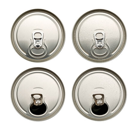 Four aluminum cans  isolated on white background photo