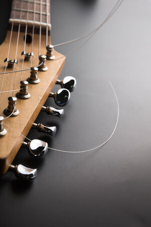 electric guitar: Electric guitar headstock and tuning machines Stock Photo