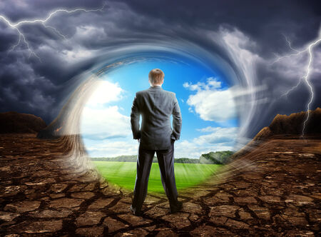 dream land: Businessman staying against cloudy clear sky, concept picture