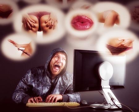 Fat  man checking porno web sites. Toned Stock Photo - 27658627