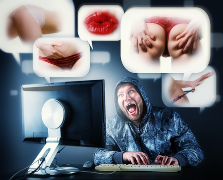 Fat  man checking porno web sites Stock Photo - 27658631