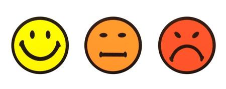 good mood: Close-up of three yellow smiley symbols
