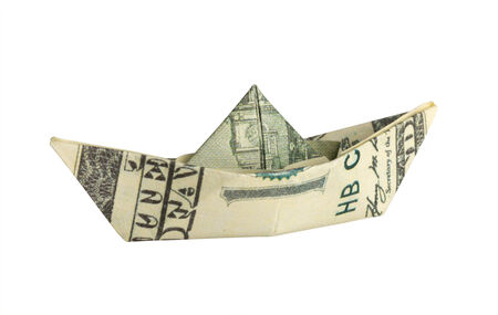 shallop: Ship from a dollar isolated on white