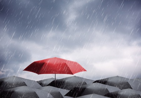 upstream: Black and one red umbrellas under rain and thunderstorm