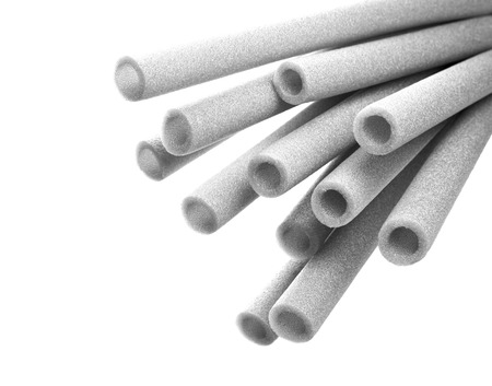 Closeup view thermal insulation foam pipes photo