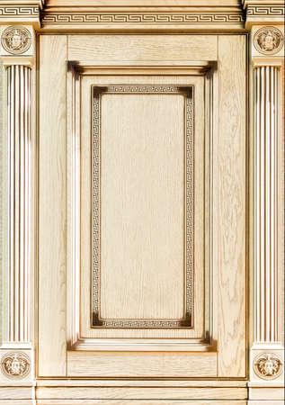 art door: Wooden light decorated facade of furniture closeup