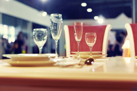 glases: Served with a kitchen tools on the table with glases