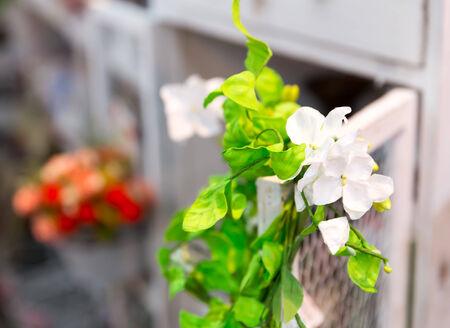 Beautiful liana of bright flowers closeup picture photo