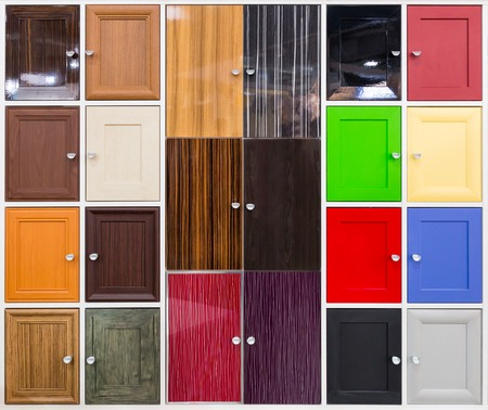kitchen cabinet: Background of doors with nice handles Stock Photo